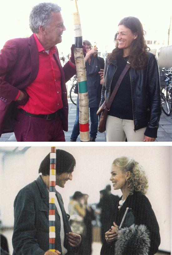 I due artisti Frank Bezemer e Scarlett Hooft Graafland rievocano, ad Amsterdam nel 2015, l'immagine con l'incontro tra André Cadere e Isa Genzken a Bruxellese nel 1974