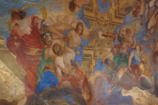 A sinistra, Demetra (veste rossa) e Persefone che gioca con le compagne. A destra, da sinistra, Atena, Afrodite e Artemide