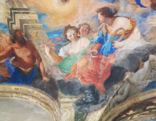 Tre muse e, a sinistra, il dio Efesto