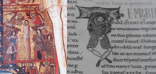 Confronto tra la Flagellazione sulla Croce e il telamone del Passionario P+