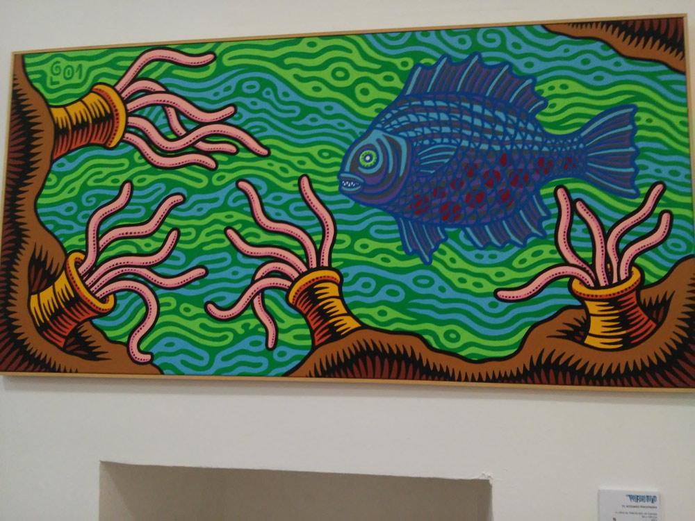 "Prof. Bad Trip, ""Acquario Psicotropo"" (2001; acrilico su tela, 100 x 50 cm)"