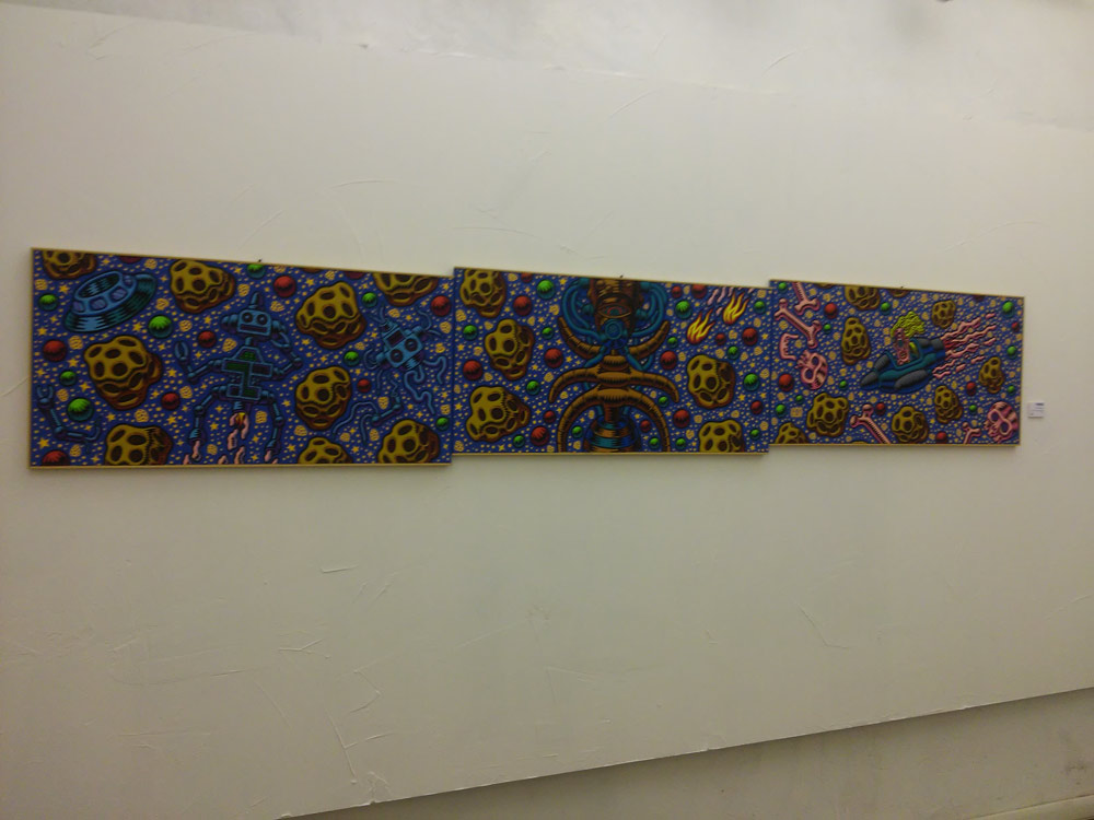 "Prof. Bad Trip, ""Trittico Space"" (2001; tre acrilici su tela, 50 x 100 cm"