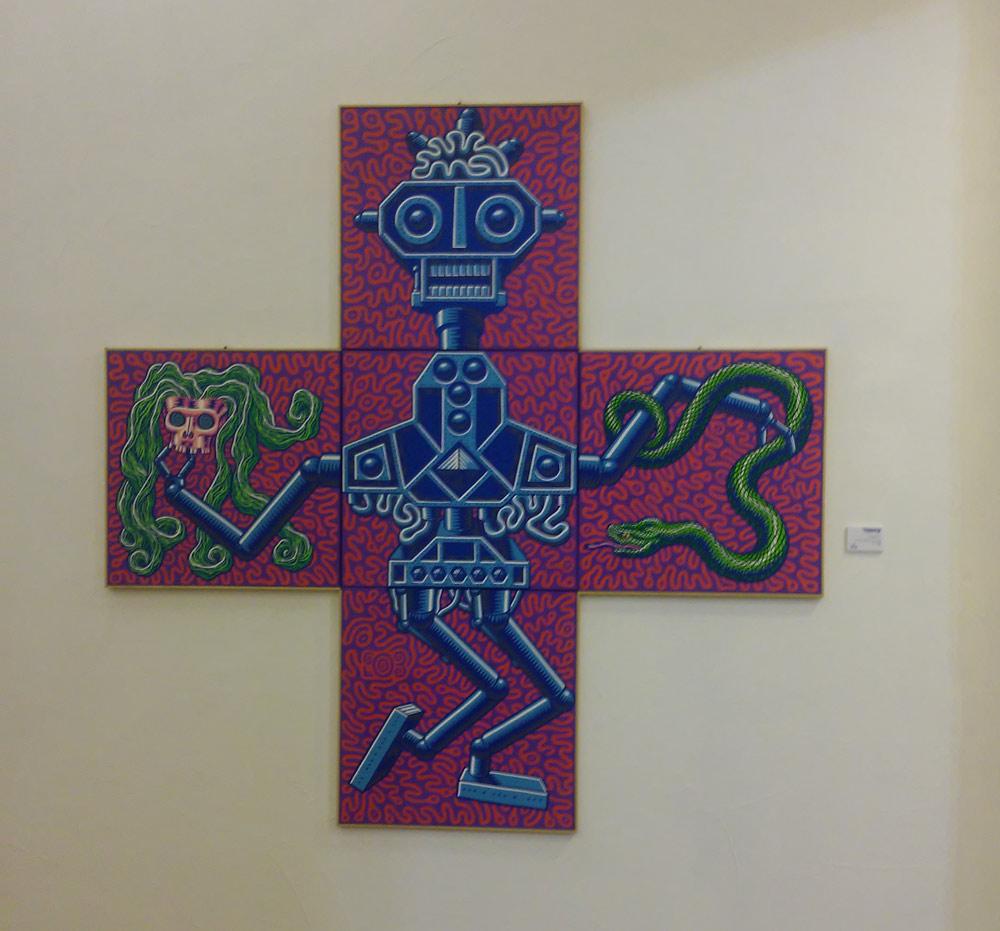 "Prof. Bad Trip, ""Robota"" (2003; cinque acrilici su tela, 50 x 50 cm ognuno)"