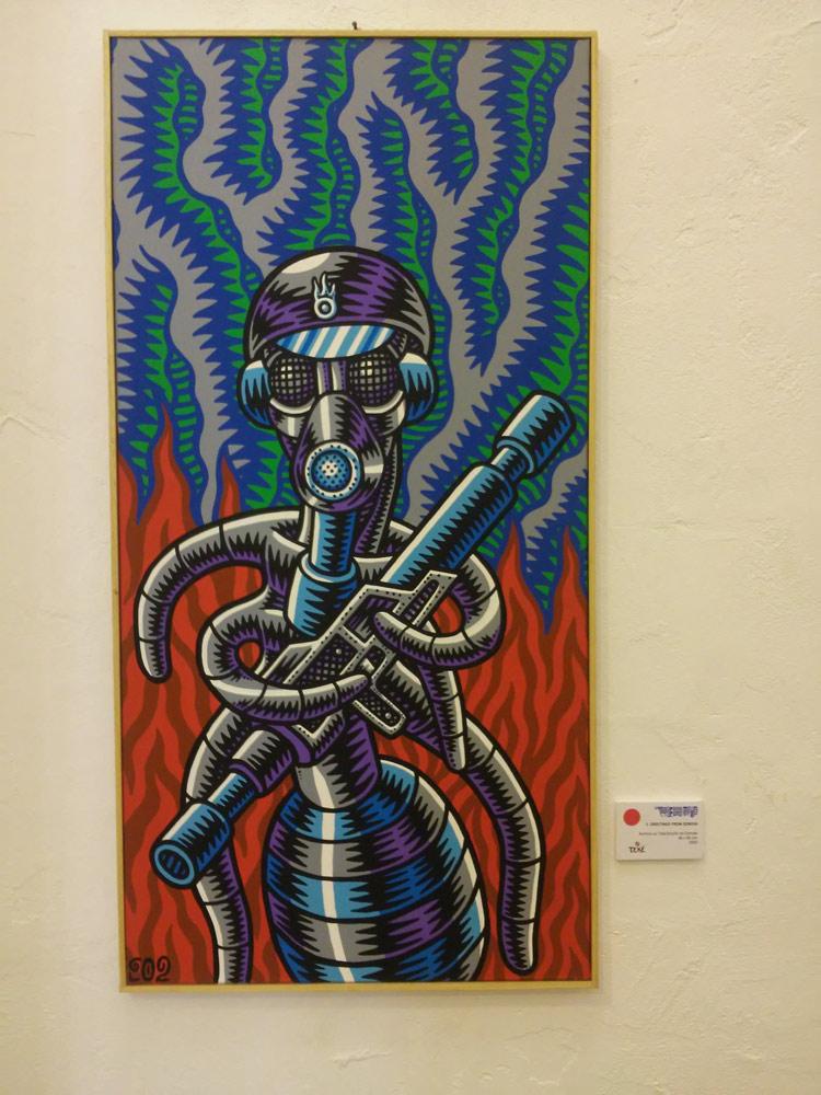 "Prof. Bad Trip, ""Greetings from Genova"" (2002; acrilico su tela, 40 x 80 cm)"