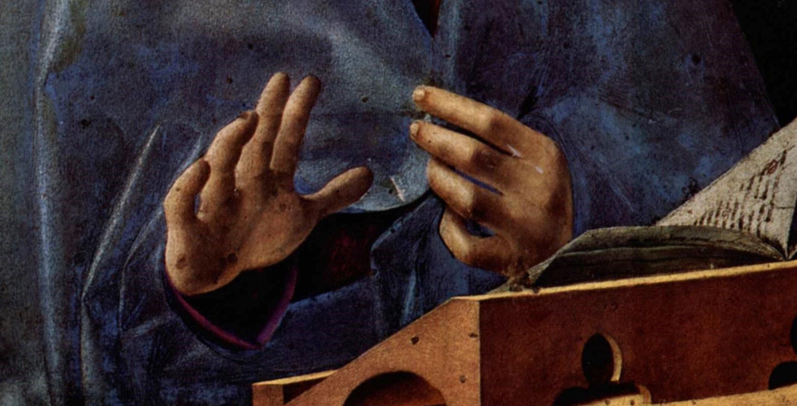 Antonello da Messina, Annunciata, Particolare delle mani