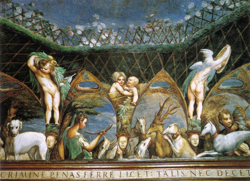 Particolare degli affreschi del Parmigianino nella saletta di Diana e Atteone