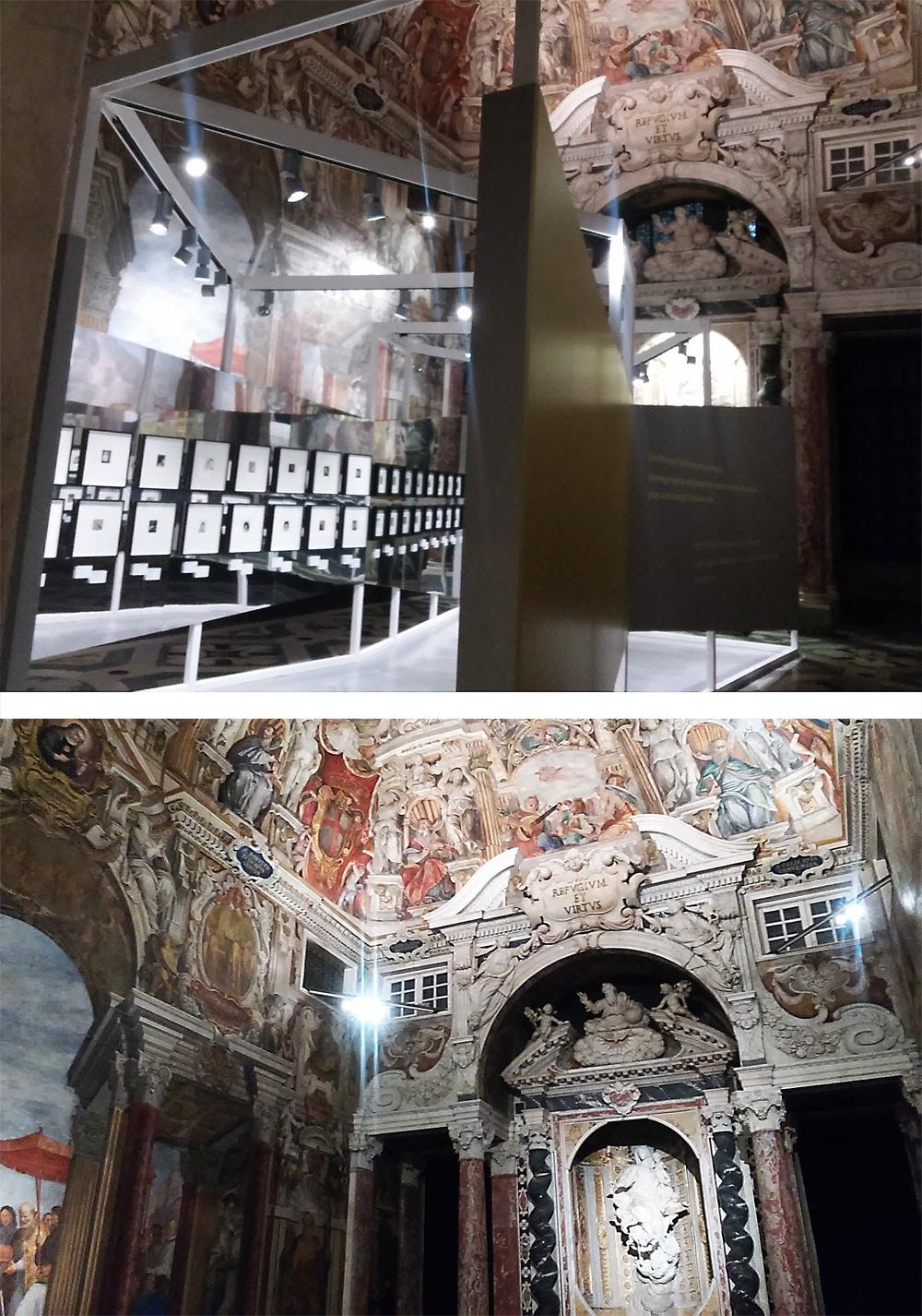 La Cappella del Doge: in alto col trabiccolo per le polaroid, in basso vuota