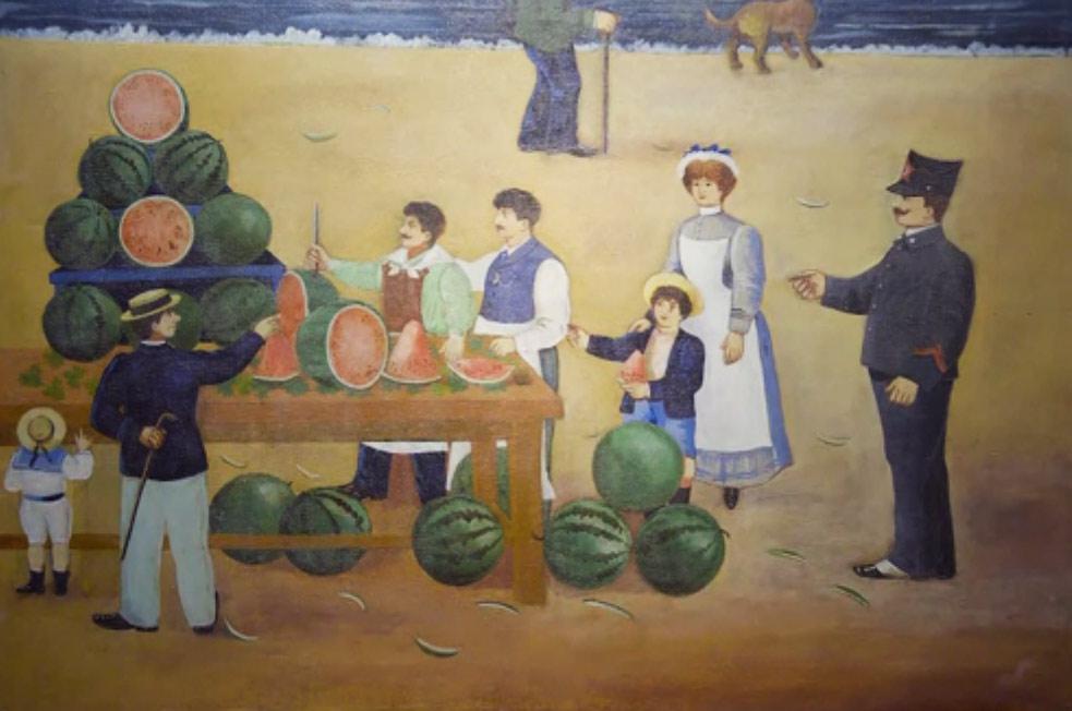 Arturo Pezzella, Insegna di cocomeraio