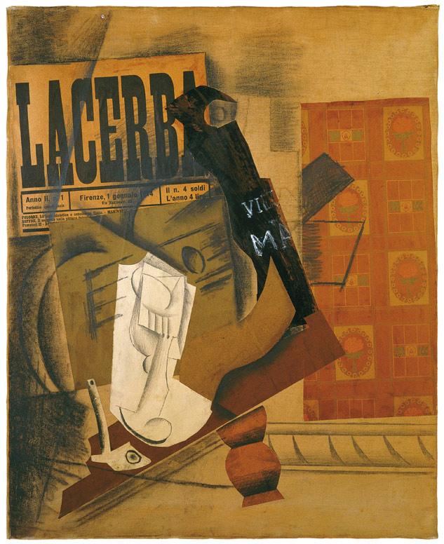 Pablo Picasso, Pipa, bicchiere, bottiglia di Vieux Marc e Lacerba