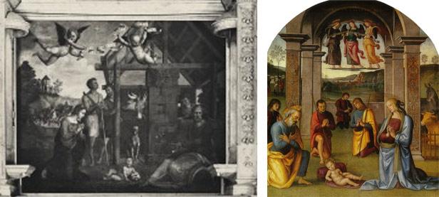 Confronto tra la Natività di Zacchia e quella del Perugino