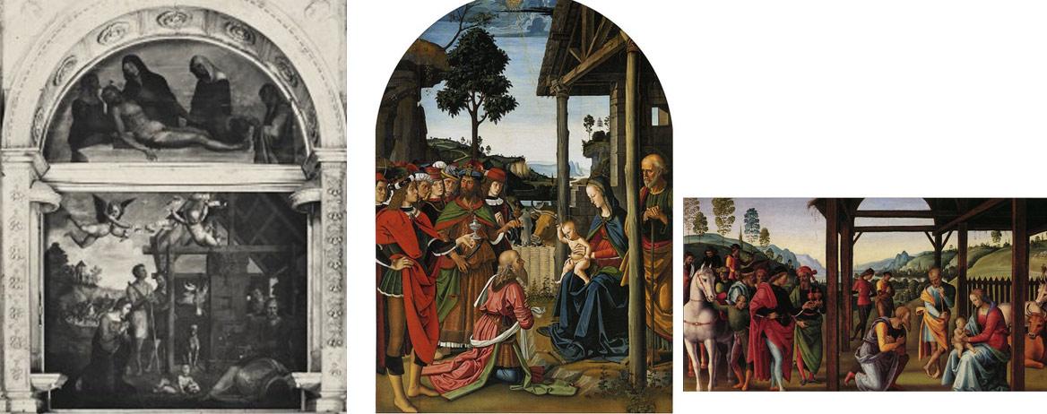 Confronto tra la Natività di Zacchia e le Adorazioni dei Magi del Perugino