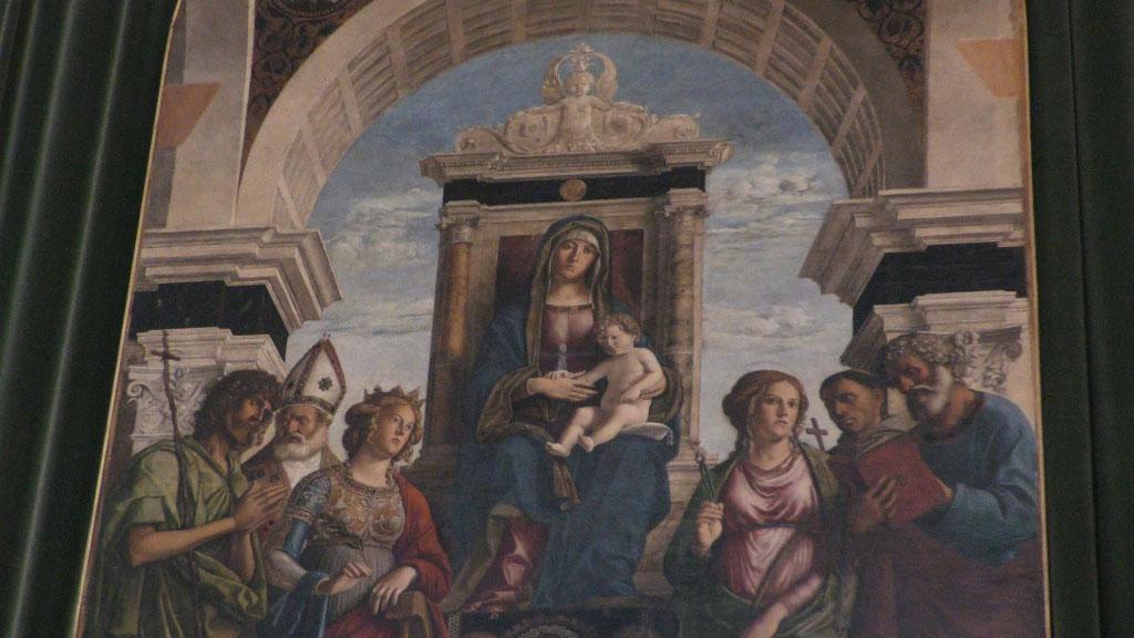 Particolare della pala di Cima da Conegliano nel Duomo