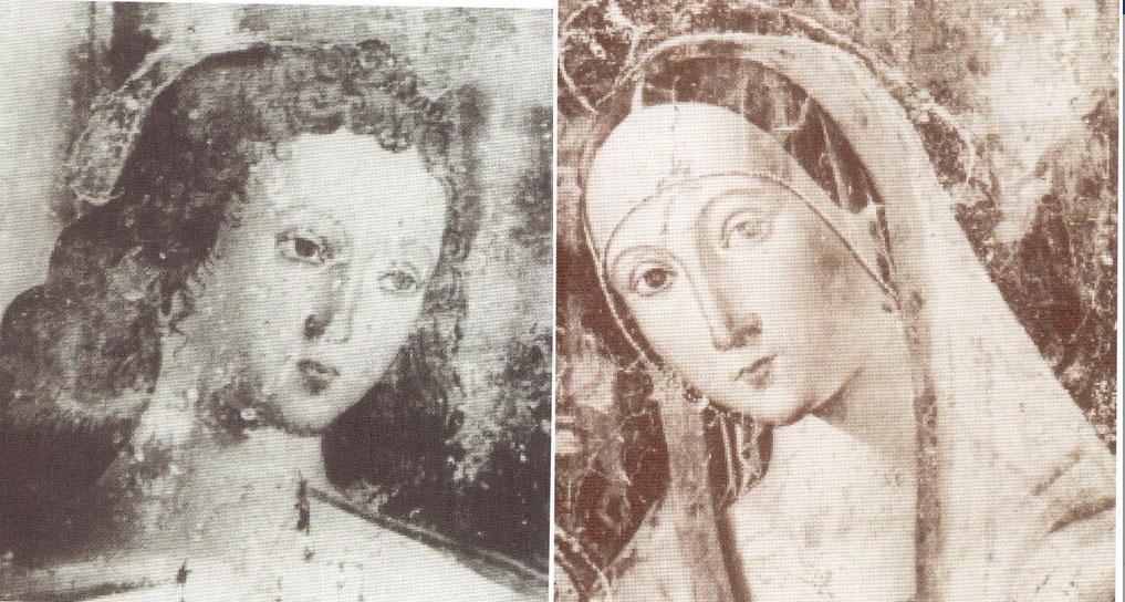 Le fotografie del san Sebastiano e della Madonna col Bambino (particolari) dalla relazione del 1924