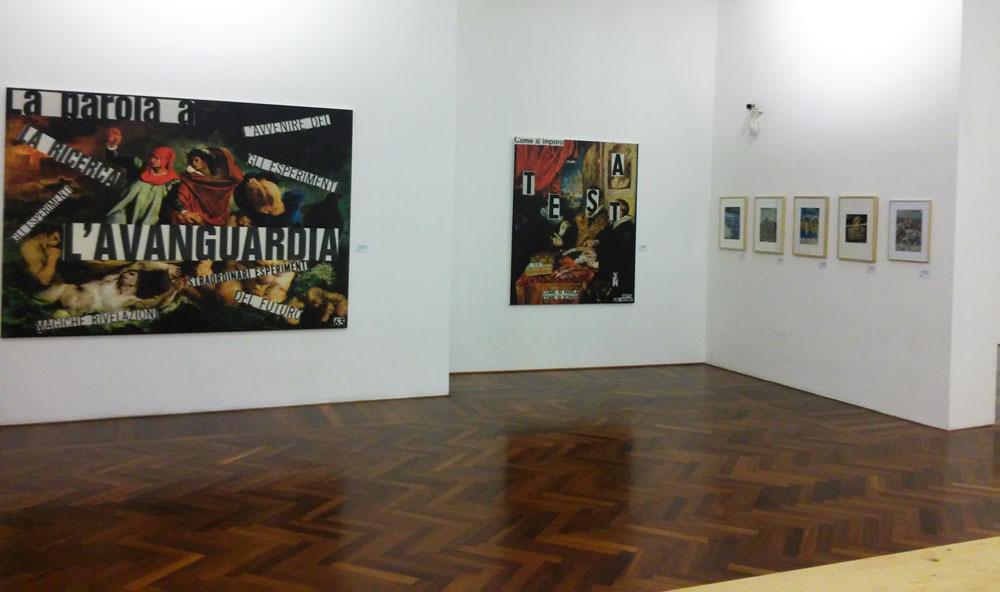 La sala con le opere di Nanni Balestrini