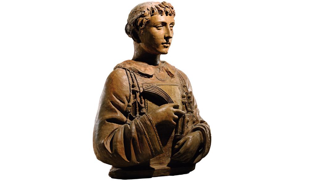 Donatello, San Lorenzo (verso il 1440; terracotta già dipinta, altezza 74,5 cm; larghezza massima cm 62; larghezza della base cm 47; Parigi, collezione Kathleen Onorato - Peter Silverman)