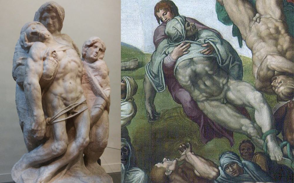 La Pietà di Palestrina a confronto col gruppo del Giudizio Universale
