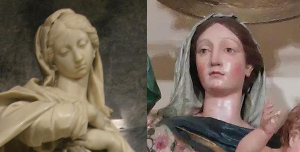 Il volto dell'Immacolata dell'Ospedale Civico (a sinistra) e quello della Madonna del Rosario