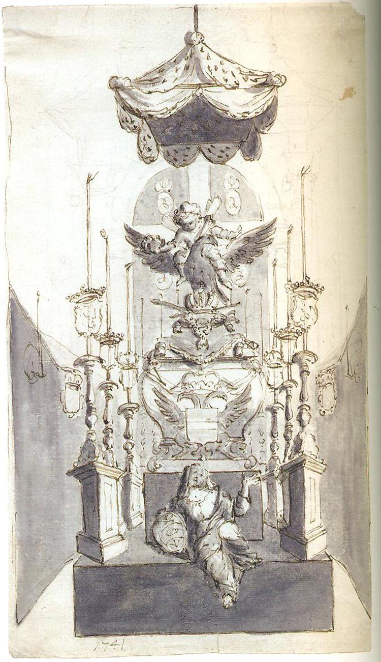 Gaspar Melchior Moens, Progetto per il catafalco di Maria Elisabetta governatrice generale dei Paesi Bassi