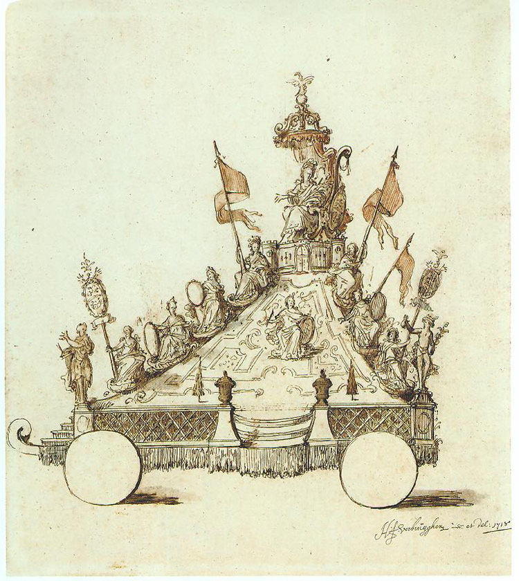 Hendrik Frans Verbrugghen, Progetto per il carrlo La Montagna delle Vergini per l'Ommegang di Anversa del 1718
