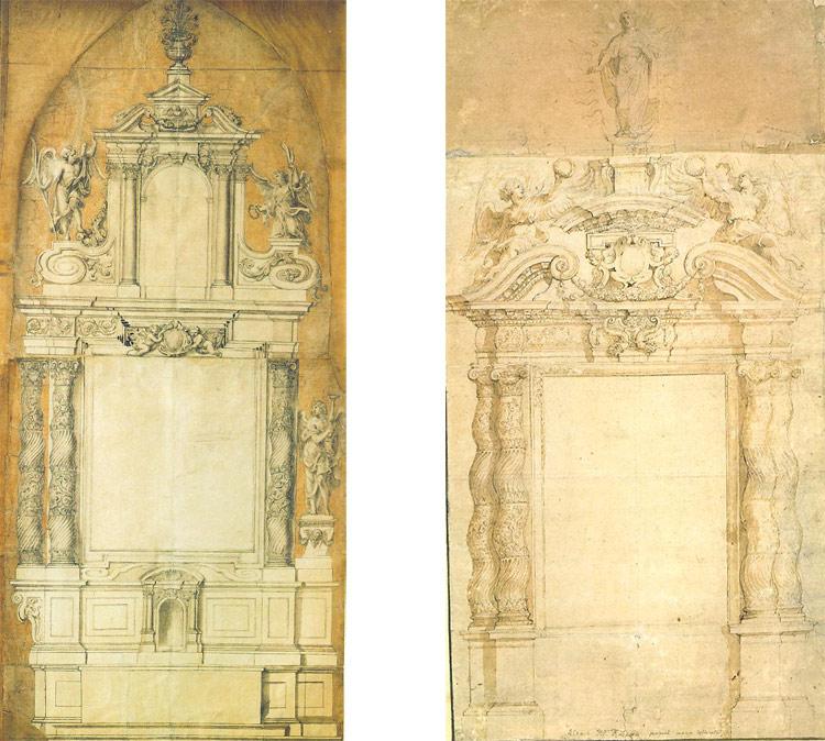 A sinistra: Pieter Huyssens, Progetto per l'altare maggiore della chiesa dei Gesuiti di Anversa. A destra: Pieter Paul Rubens, Progetto per l'altare maggiore della chiesa dei Gesuiti di Anversa