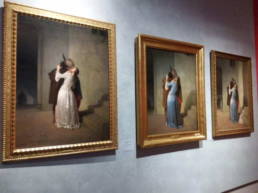 Le tre versioni del Bacio di Hayez in mostra a Milano tra 2015 e 2016