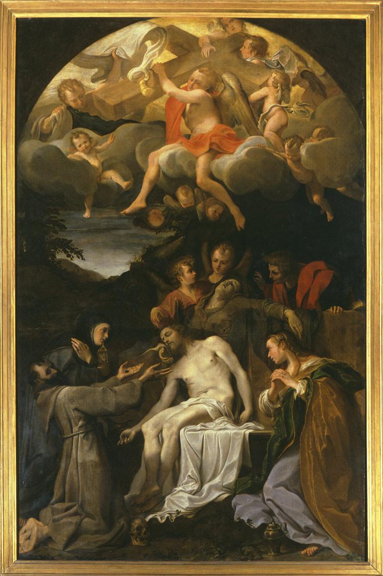 Annibale Carracci, Compianto sul Cristo morto con i santi Francesco, Chiara, Giovanni evangelista, Maria Maddalena e angeli