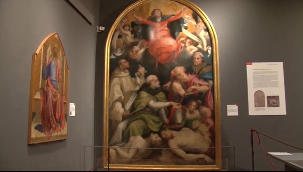 La sala con la Disputa sull'Immacolata Concezione di Carlo Portelli (foto dal sito della mostra)