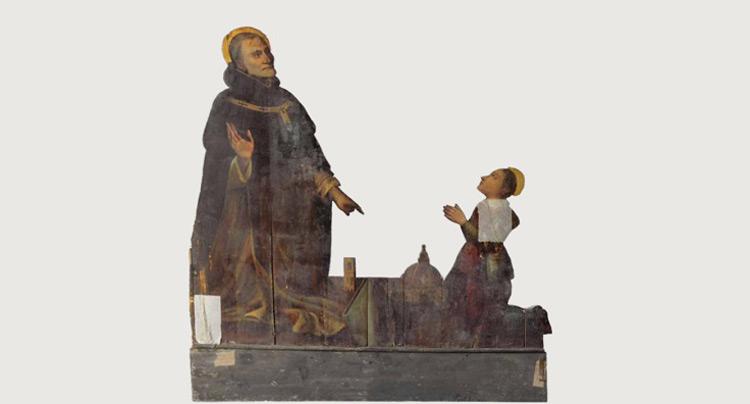 Uno degli 'ultimi': tavola sagomata seicentesca con sant'Antonino che si fa tramite verso Dio delle preghiere rivolte dal giovane san Filippo Neri per la cattedrale di Santa Maria del Fiore