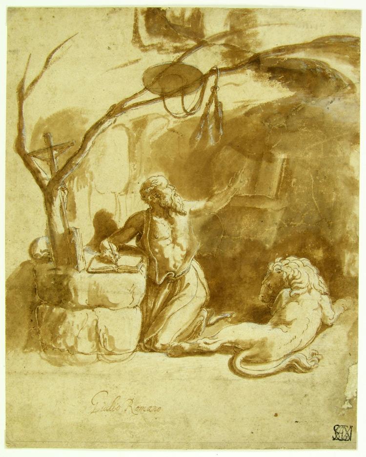 Ambito di Giulio Romano, San Girolamo traduce la Bibbia