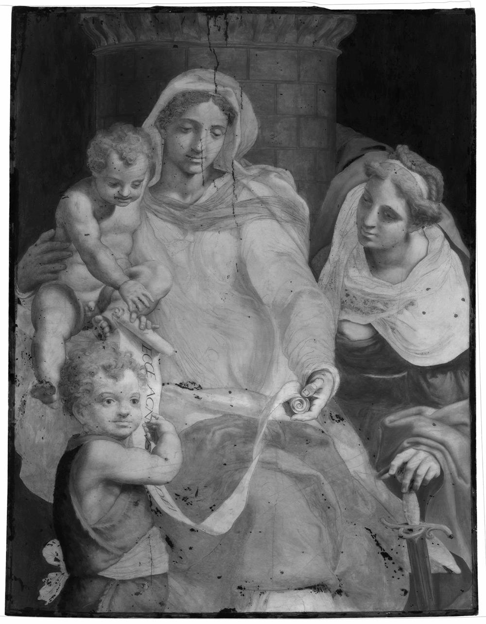 Daniele da Volterra, Madonna col Bambino, san Giovannino e santa Barbara, riflettografia