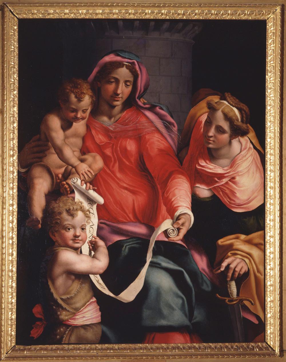 Daniele da Volterra, Madonna col Bambino, san Giovannino e santa Barbara