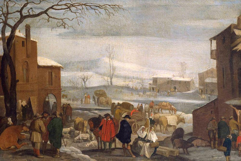 Sinibaldo Scorza, Paese in inverno con mercato