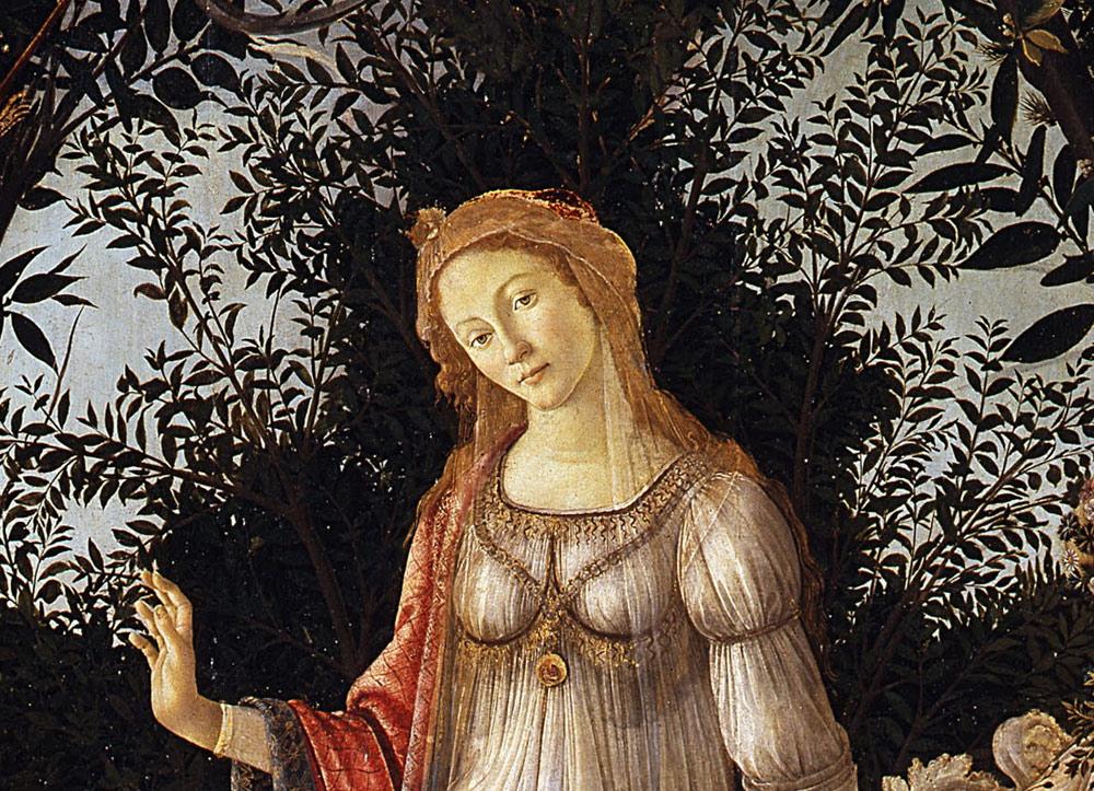 La dea Venere con, alle sue spalle, il cespuglio di mirto
