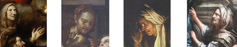 Confronto tra i volti delle opere di Fiasella