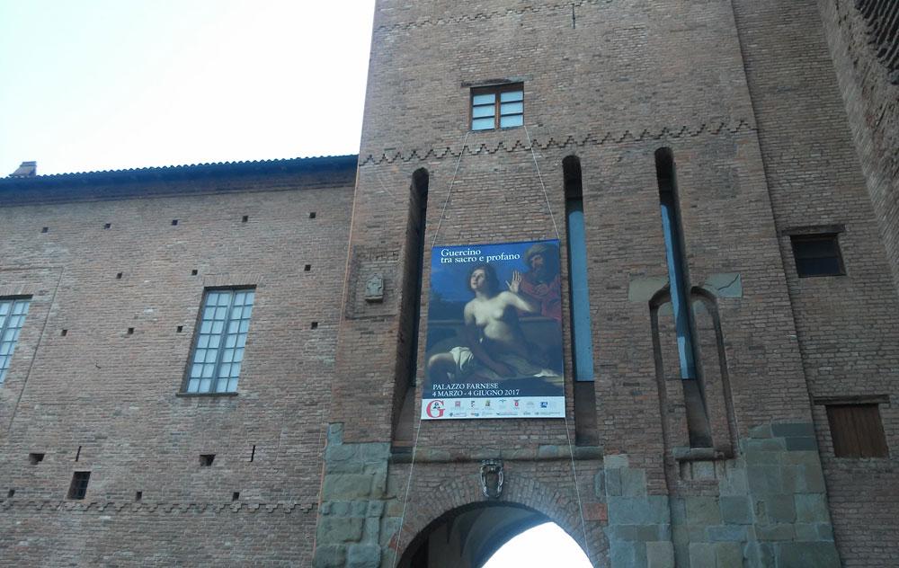 L'ingresso della mostra a Palazzo Farnese, Piacenza