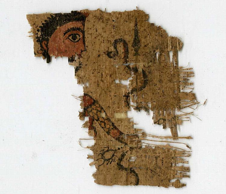 Frammento di papiro con divinità apotropaica