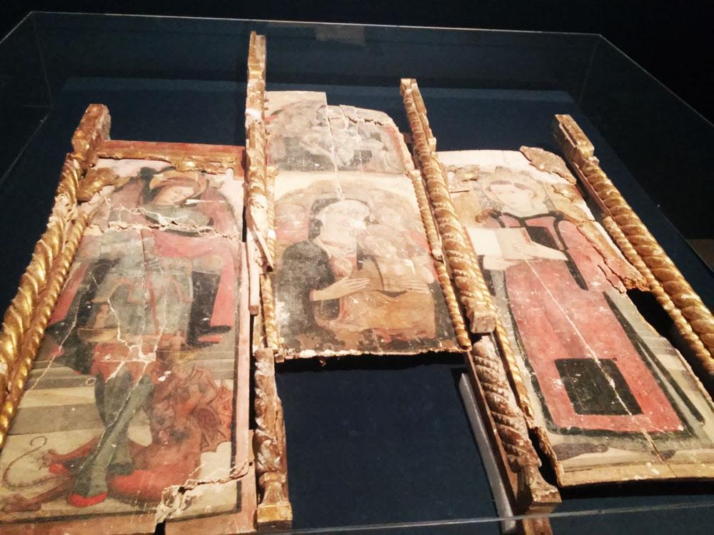 Attribuita a Benedetto di Marco, Madonna con il Bambino e i santi Michele Arcangelo e Stefano