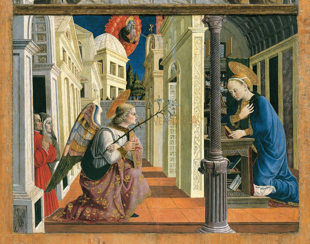 Giovanni Angelo d'Antonio, Annunciazione con un donatore laico e una donatrice terziaria francescana (Giacomo di Boncambio e sua moglie?)