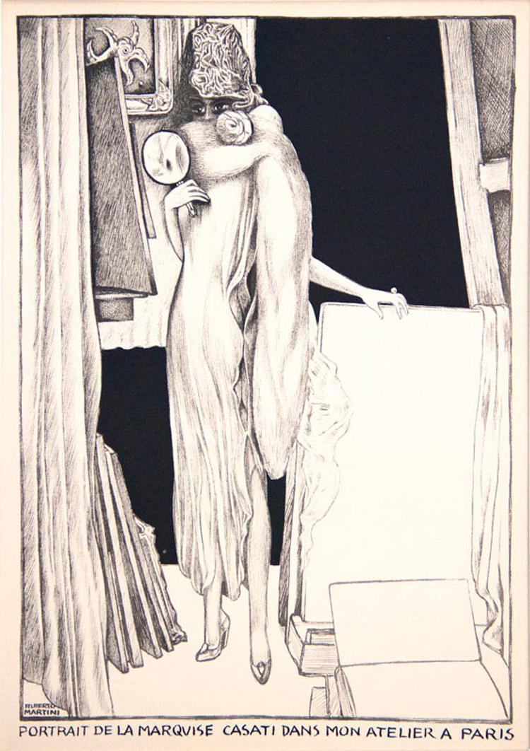 Alberto Martini, Portrait de la marquise Casati dans mon atelier à Paris