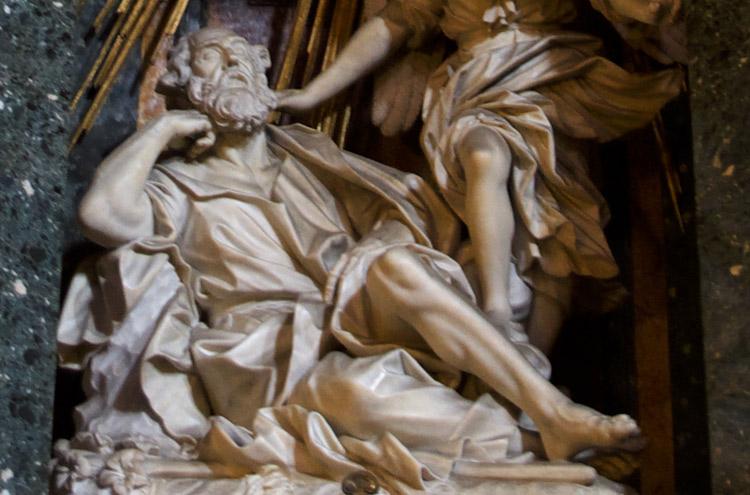 Dettaglio della figura di san Giuseppe nel gruppo di Domenico Guidi