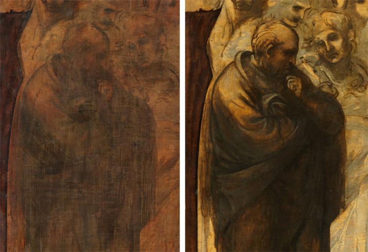 Dettaglio: la presunta figura di Isaia prima e dopo il restauro