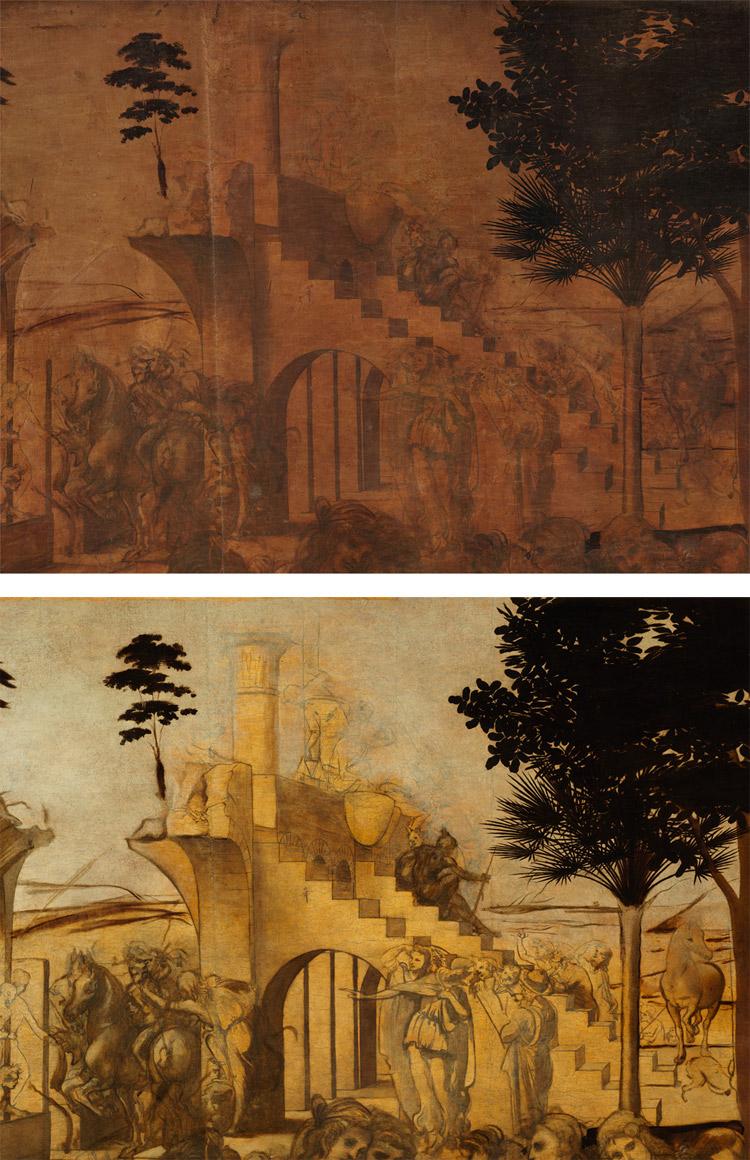 Dettaglio: l'uomo sul tempio prima e dopo il restauro