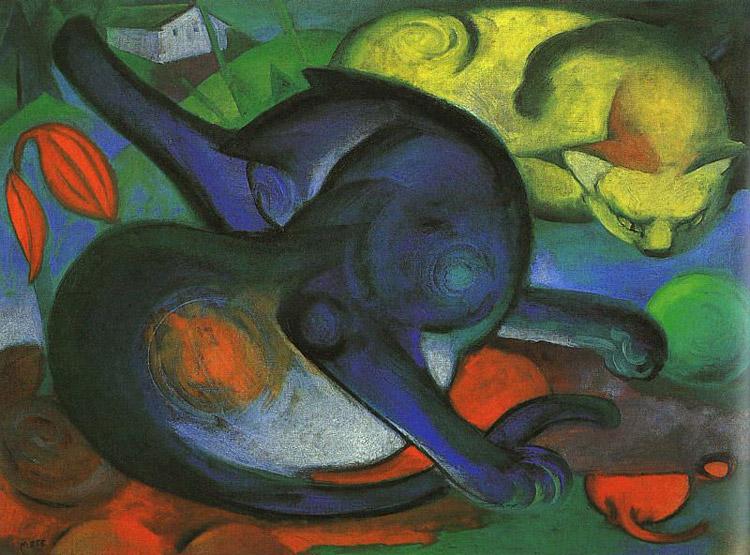 Franz Marc, Due Gatti, blu e giallo