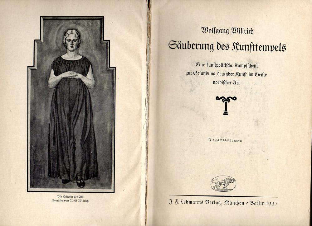L'intestazione del libro Säuberung des Kunsttempels di Wolfgang Willrich