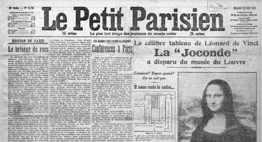 Il furto della Gioconda su Le Petit Parisien
