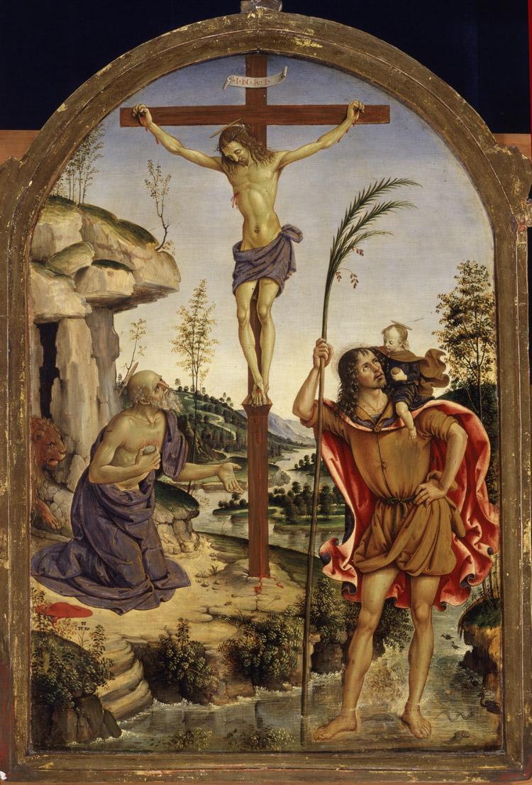 Pinturicchio, Crocifisso tra i Santi Girolamo e Cristoforo