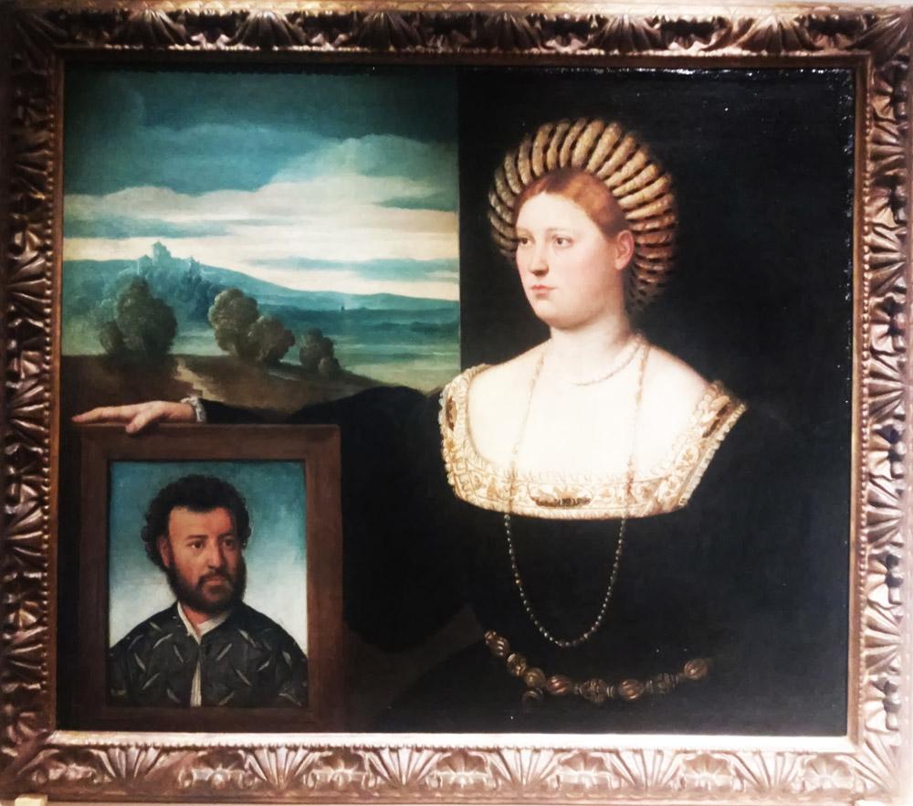 Bernardino Licinio, Dama che regge un ritratto di figura maschile