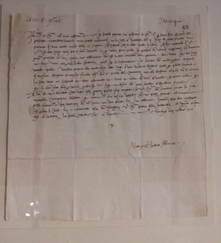 Lettera di Taddeo Albano ad Isabella d'Este