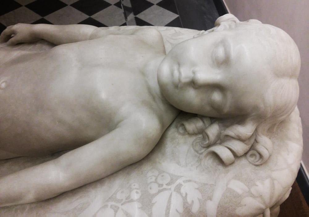 Giovanni Dupré, Sonno dell'innocenza, dettaglio del viso