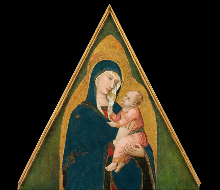 Ambrogio Lorenzetti, Trittico di Badia a Rofeno, Cuspide con Madonna e Bambino
